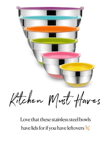 Amazon kitchen must haves. Set of stainless steel bowls with lids  #LTKunder50 #LTKhome