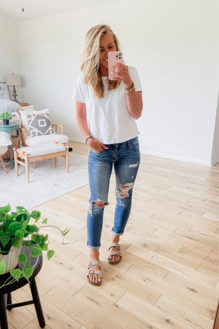 My jeans are on sale today for $20! Fit is true to size. White t-shirt is from Walmart. Sandals are from Walmart. http://liketk.it/3i70I #liketkit @liketoknow.it #LTKshoecrush #LTKunder50 #LTKsalealert