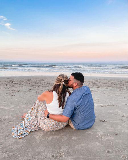 Couple beach outfits. Tank tts, I sized up one in the skirt. Husband's chambray shirt fits tts. @liketoknow.it http://liketk.it/3iQXW #liketkit #LTKtravel #LTKunder50