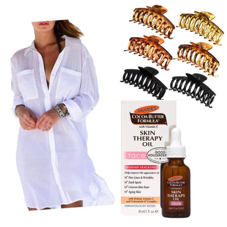 Today's @amazon delivery! I'm jumping on the #clawclip bandwagon, love to throw my hair up in a trendy clip, so easy and so relaxed! Also this face oil is a must for me now, it's been part of my bedtime routine for a year now. Also this bathing suit coverup was something I thought would be great for the beach and the pool and I think it's going to be perfect for Spring Break!   http://liketk.it/3a7p0 #liketkit @liketoknow.it   Screenshot this pic to get shoppable product details with the LIKEtoKNOW.it shopping app