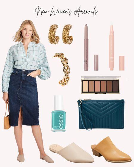 Denim skirt, women's clothing, new, Target, gold jewelry, mules, wristlet, eyeshadow, concealer, nail polish, clean beauty  #LTKstyletip #LTKunder50 #LTKshoecrush