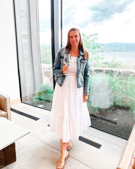 Summer white maxi dress  http://liketk.it/3hMEz @liketoknow.it #liketkit #LTKunder50 #LTKstyletip #LTKshoecrush #whitedress #denimjacket