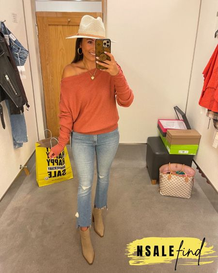 Nordstrom anniversary sale outfit - mother jeans sized up to a 26, they are tiny but do have stretch. Top I sized up to a small because there were no XS left but it totally works. Obsessed with this hat! It was my fave I tried on! Booties are true to size but you probably need to size up if you have a wider foot. I have a narrow foot.  #nordstromanniversarysale #nordstrom #nordstromanniversarysale2021 #nsale #nsale2021 #anniversarysale #nordstromsale Nordstrom anniversary sale Nordstrom anniversary sale 2021 nsale nsale2021     #LTKshoecrush #LTKsalealert #LTKunder100
