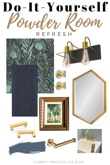 My Power Room Renovation is under way and these are my favorite pieces. I used peel and stick wallpaper, chalk paint to pint the vanity, I chose a modern brass and black vanity light fixture, and a hexagon mirror. I love how the powder room design is coming along.   http://liketk.it/38F9R @liketoknow.it #liketkit #LTKhome #LTKstyletip #LTKunder50 @liketoknow.it.brasil @liketoknow.it.europe @liketoknow.it.home @liketoknow.it.family Shop your screenshot of this pic with the LIKEtoKNOW.it shopping app