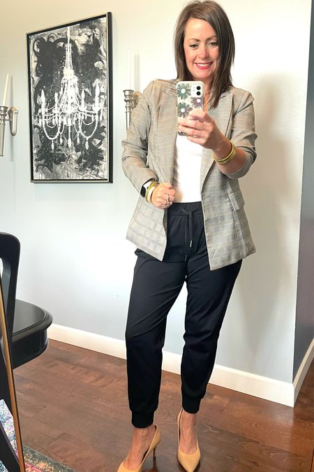 Jogger style day 3!!! My favorite joggers paired with this plaid blazer and nude heels are the perfect combo.  You'll be rolling into the office in style AND comfort .   #LTKunder50 #LTKstyletip #LTKworkwear