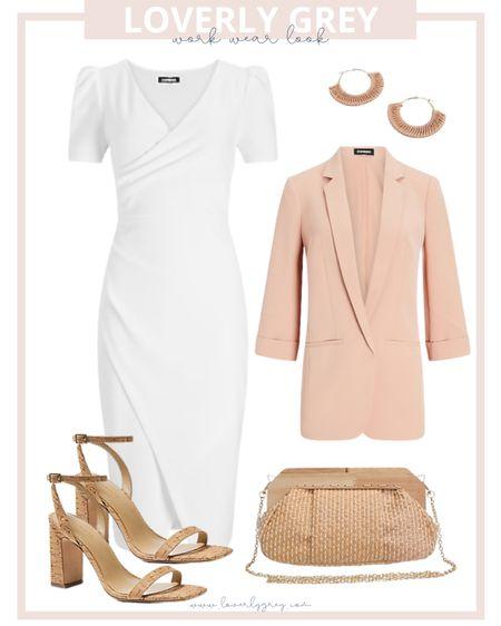 Loverly grey summer work wear look: pair a white dress with a neutral blazer and heels.   #LTKSeasonal #LTKworkwear #LTKunder100