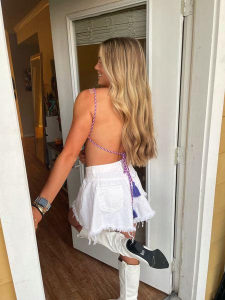 Shein. Backless top. Crop top. White shorts    #LTKunder50 #LTKstyletip #LTKSeasonal