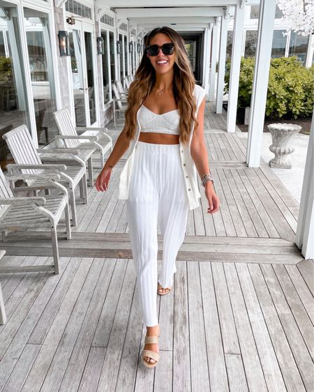 White two piece pant set.. perfect beach outift or coverup for vacation! Great bride outift!    http://liketk.it/3fWhU #liketkit @liketoknow.it @liketoknow.it.brasil @liketoknow.it.europe @liketoknow.it.family @liketoknow.it.home   #LTKstyletip #LTKshoecrush #LTKwedding