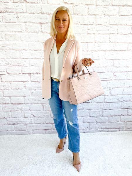 Street Look / Blazer Look / Work Blazer / Workwear / Work Wear / Office Look / Office Outfit / Business Casual / Office Casual / Work Outfit / Tory Burch / Kate Spade /  Coach Handbags / Handbag /petite / over 40 / over 50 / over 60 / Fall Outfit / Fall Fashion  / Boyfriend Jeans  #LTKSeasonal #LTKitbag #LTKworkwear