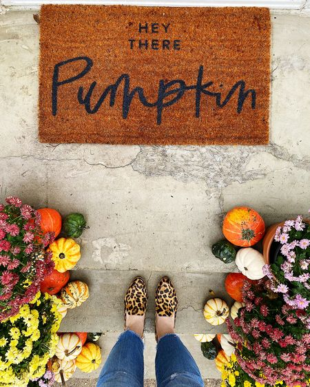Pumpkins, mums, cute doormat and leopard shoes...must be October! 🍁🎃🍂  Sharing some of my favorite pumpkin doormats and animal print shoes...tap link in bio to shop! 🥰 http://liketk.it/2FqHT #liketkit @liketoknow.it
