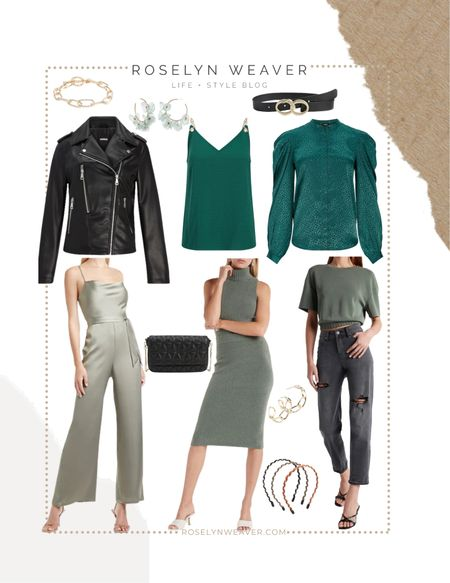 Fall 2021 color trend … GREEN tones 💚  Jumpsuit, midi sweater skirt, faux leather jacket, boyfriend jeans, gold tone jewelry, work wear, fall family photos, fall outfits, concert outfits     #LTKunder50 #LTKstyletip #LTKSale
