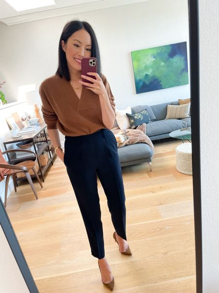 Sale alert! These navy trousers (they have an elastic waistband at back!!) are now 60% off and one of my favorite finds for Fall. Forever a classic.   #LTKworkwear #LTKstyletip #LTKsalealert