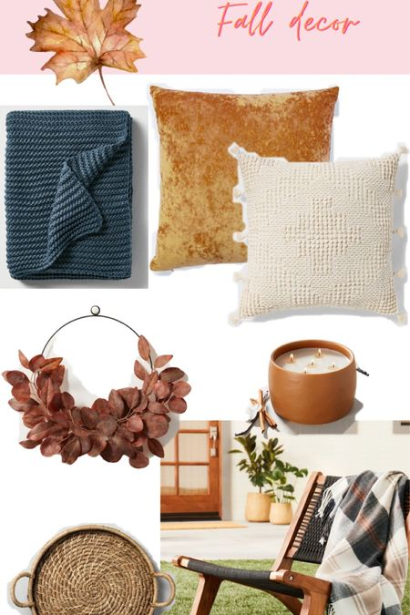 Target fall home decor throw pillows blankets orange velvet texture wreath candle