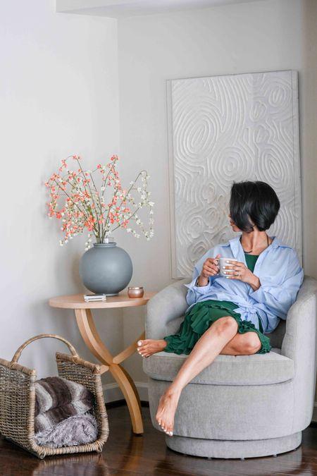 Side table, swivel chair, vase, studio McGee, basket, home decor, living room decor, bedroom nook,   #LTKstyletip #LTKSeasonal #LTKhome