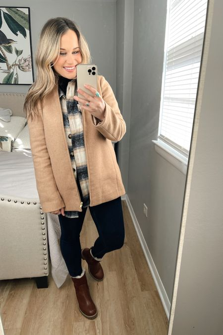 Amazon fashion finds: how to style this amazon shacket #6 The perfect winter outfit! Paired this shacket with my wool coat that is on sale right now, my skinny jeans are on sale right now too and my super warm winter boots, these boots are a target find! http://liketk.it/36ASO #liketkit @liketoknow.it #LTKsalealert #LTKshoecrush #LTKunder100