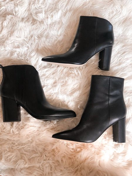 Three styles of black booties. All comfortable because of the design quality. I go up 1/2 size always with a pointed toe. Booties on sale   #LTKsalealert #LTKshoecrush #LTKSeasonal