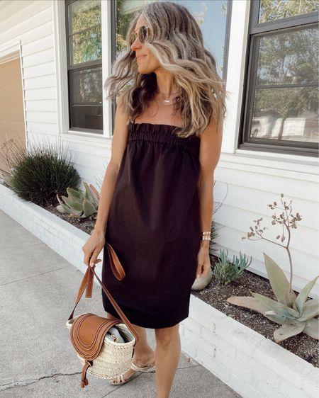 Black paper bag dress, with side pockets, good for summer //   #LTKstyletip #LTKunder100