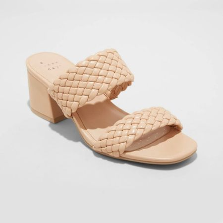 Target Fiona nude heeled sandals, braided woven faux leather sandal    #LTKshoecrush #LTKunder50 #LTKstyletip