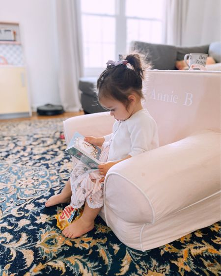This is by far Annie's favorite place in the house! We use this personalized chair for reading time, movie nights, and snuggles with our doll babies. http://liketk.it/2NdJW #liketkit @liketoknow.it #LTKfamily #LTKbaby #LTKkids