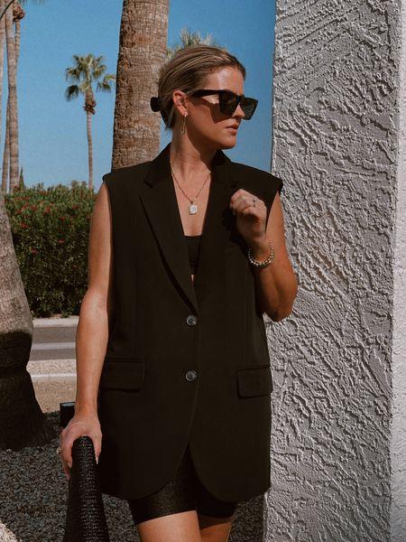 Obsessed with the sleeveless blazer! I'm wearing a S. #sleevelessblazer #fallfashiom #edgy #sunglasses #jewelry #clutch #amazonfashion #hm        #LTKunder50