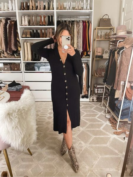 """You can now shop my fall 2021 collection I designed with @gibsonlook that includes this Duster Cardigan Sweater with Side Slits  I'm wearing in """"Black""""  Code: HAUTE15 for 15% OFF!  Sizing: Size up if you want to wear it as a dress or top!  Notes: This super comfy cardigan is so versatile you can wear it 3 different ways! Wear it as a dress or just button the top 3 buttons to wear it as a top over leggings or jeans, and lastly wear it open as a cardigan! It also comes in """"Cuban Sand"""" & """"Turmeric""""  #fallfashion #falloutfit #ribbedcardigan #cardigandress #cardigantop #whitebodysuit #highwaistedjeans #fallhat #blackdress #designerbag    #LTKstyletip #LTKsalealert #LTKunder100"""