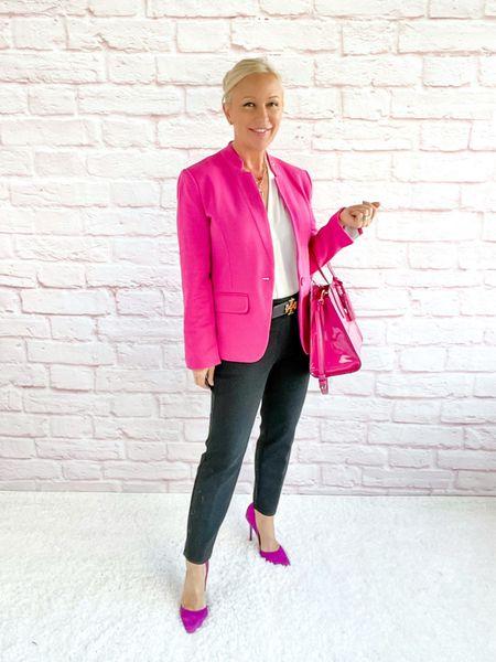 Pink Blazer for Autumn!  Blazer Look / Work Blazer / Workwear / Work Wear / Office Look / Office Outfit / Business Casual / Office Casual / Work Outfit / Tory Burch / Kate Spade /  Coach Handbags / Handbag /petite / over 40 / over 50 / over 60 / Fall Outfit / Fall Fashion    #LTKitbag #LTKworkwear #LTKSeasonal
