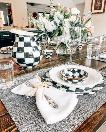 Adding in my new @MackenzieChilds peices to this rustic table setting truly made this special dinner for my parents come to life! 🙌🏼 These peices are a standout on their own, but blending them into you're current place settings is easy and makes for a stunning tablescape! 🌸 My parents recently built their dream home, and are enjoying their retirement... so my brother, sister-in-law, and I kicked them out of the kitchen to prepare a three course meal. I was on table setting, cocktails, and dessert, while Doug & Maureen prepared apps one of the best meals I've ever eaten! 🖤 Truly a special moment made beautiful with these gorgeous dishes and serveware! Linked all of my favorites here, and showing a closer look in stories! 🙌🏼 #liketkit  #LTKunder100 #StayHomeWithLTK #ad #mackenziechilds http://liketk.it/2SpFv @liketoknow.it