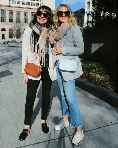 Styling blazers as jackets! Plaid blazer, cream blazer, gray blazer, pastel blazer  #liketkit @liketoknow.it http://liketk.it/39BTG #LTKworkwear #LTKunder50 #LTKsalealert     Loft Topshop Nordstrom  Lightweight jacket  Spring outfit  Casual outfit  Travel outfit  Workwear Styling tip Sale blazer