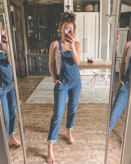 The cutest maternity overalls, on sale!! I went up one size from my usual for a more relaxed fit. I can't find my exact tank online but linked several similar, all maternity! http://liketk.it/3iQ4i #liketkit @liketoknow.it