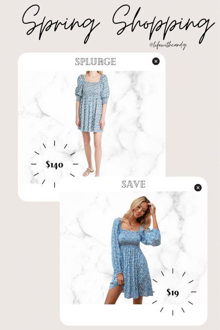 Floral long sleeve balloon sleeve dress. Splurge vs. save. Spring style. Summer style. Shein finds. Shopbop    http://liketk.it/3dnl9 #liketkit @liketoknow.it #LTKunder50 #LTKstyletip