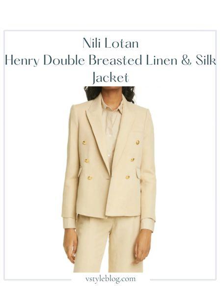 Nordstrom sale, Summer outfits, Blazer, Sale alert  Nili Lotan Henry Double-Breasted Linen & Silk Jacket  @ Nordstrom (was $950, now $570) @ Nili Lotan ($950)  #LTKsalealert #LTKworkwear #LTKfit