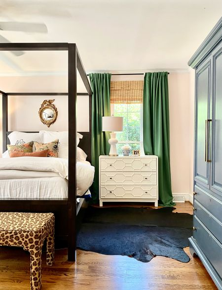 Traditional bedroom, canopy poster bed, upholstered bench, bedding, pillows, hide rug, nightstand chest   #LTKhome