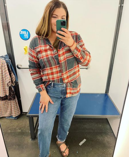 Old navy 50% off sale online only! I'm so in love with this flannel and these straight jeans 😍 size 12 in the jeans and large in the flannel #flannel #oldnavystyle #straighlegjeans  #LTKSeasonal #LTKcurves #LTKsalealert