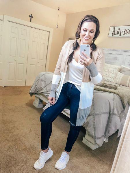 Fall outfit inspo! 🍂  #fall #fallvibes #fallstyle #falloutfits #fallfashion #cardigan #whitetshirt #whitetee #tennisshoes #Adidas #jeans #walmart #amazon    #LTKstyletip #LTKSeasonal #LTKunder50