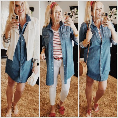 Way to wear Wednesday ❤️ Style a denim dress 3 ways.. . Perfect for 4th of July❤️💙🇺🇸🧨 . .  Shop my daily looks by following me on the LIKEtoKNOW.it shopping app Download the LIKEtoKNOW.it shopping app to shop this pic via screenshot http://liketk.it/3iNbl #liketkit @liketoknow.it #LTKunder50 #LTKshoecrush #LTKstyletip