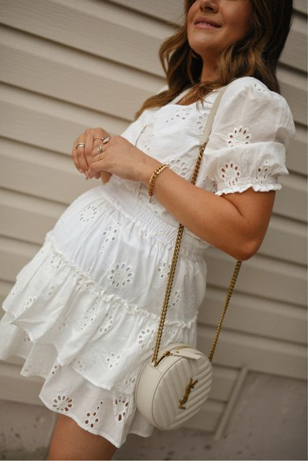 The perfect shite summer look! This dress is non-maternity and runs a little big! Size one down!  #LTKunder50 #LTKbump #LTKitbag