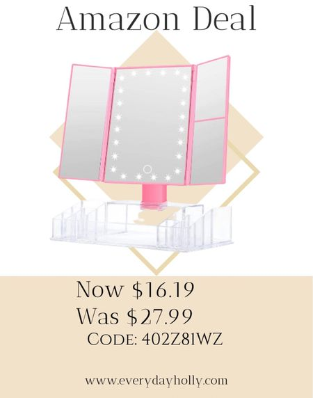 Amazon Deal!   Makeup Mirror with Lights and Storage - 3x/2x Magnification, Tri-Fold Cosmetic Vanity Mirror with 24 Led Light, Touch Screen, 180 Degree Adjustable Rotation, Dual Power Supply Amazing reviews    #LTKsalealert #LTKbeauty #LTKunder50