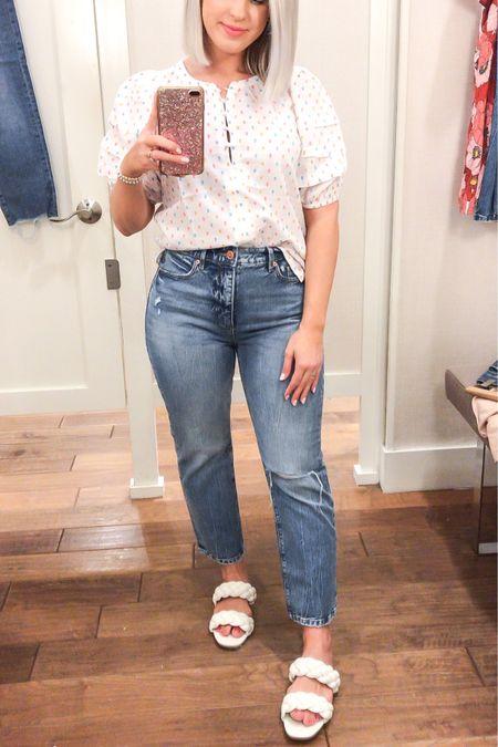 Loft petite haul! Puffed sleeve blouse with straight cut cropped jeans!  #LTKunder100 #LTKsalealert #LTKSpringSale
