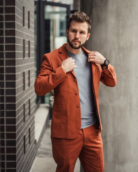 Wearing size 36s jacket and 30x30 pants in this Express Men rust suit with a heather grey t-shirt. Runs tts   #LTKmens