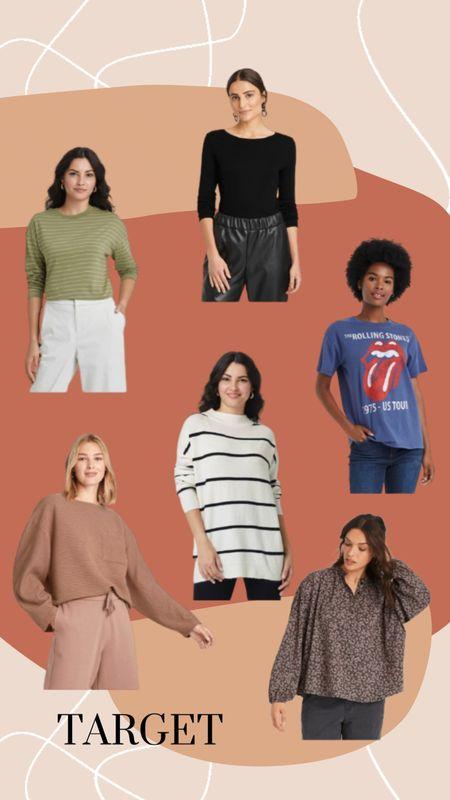 I'm a mix of M & L in these tops! Green: L, Black: M, Navy: L, Striped Sweater: L, Nude Sweater: M, Blouse: M