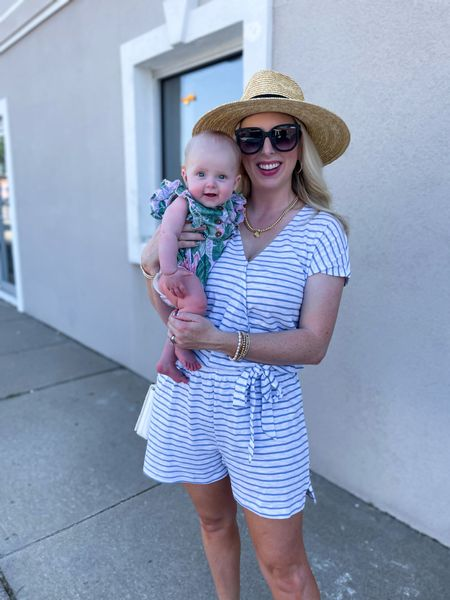 Chunky thighs & pretty eyes! 🥰 How cute is this little babes ruffle sleeve outfit!? 🌸 & My striped romper is UNDER $14!! 🙌🏼 We're two girls in #walmartfashiom 💗   SHOP:   http://liketk.it/3ijnW #liketkit @liketoknow.it #LTKunder50 #LTKstyletip #LTKbaby