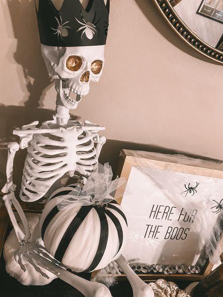 Gave this little skeleton a facelift with some paint!  halloween decor, fall decor, DIY  #LTKhome #LTKunder50 #LTKSeasonal