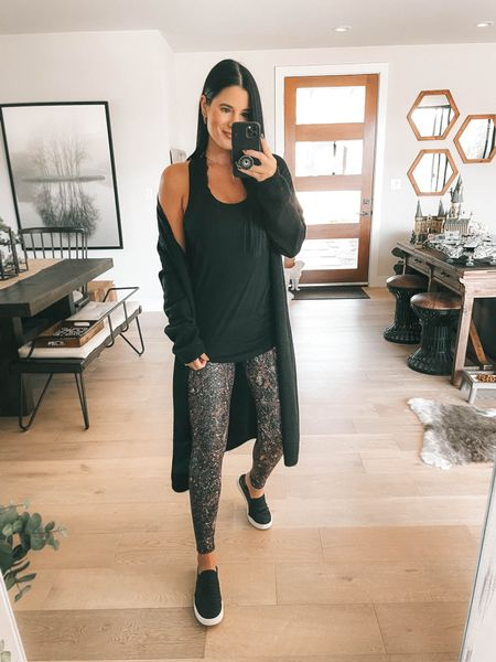 I linked a ton of black cardigan options!  I linked my black lace Bralette and my black layering tank. Go up a size in the tank! I'm wearing a large and it's only $19. Comes in multiple colors. These snake printed leggings are spanx faux leather leggings new arrivals! I'm wearing a small. Use code DTKxSPANX for 10% off your order.    #LTKstyletip #LTKsalealert #LTKunder100