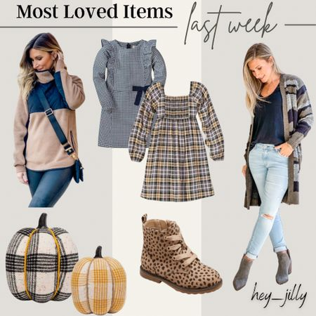 Last week's most loved items include camo cardigan, faux leather trim fleece, pumpkin fall decor, and these cute options for girls for fall family photos   #LTKSeasonal #LTKfamily #LTKstyletip