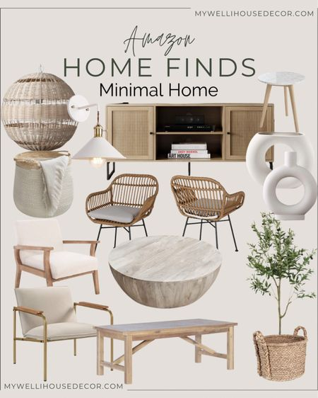 Amazon home finds for a Minimal Home style Credenza, light fixture, end table, drink table, coffee table, accent chair, olive tree, baskets, home decor  #LTKsalealert #LTKhome