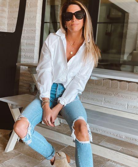 White button up top is a closet staple!🙌🏼 Fits true to size.     #LTKstyletip #LTKworkwear