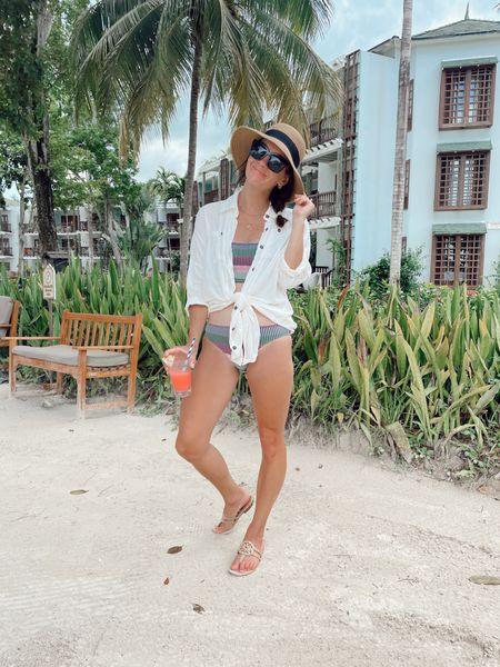 Beach outfit - beach coverup - amazon coverup (true to size) - amazon sun hat, target sunglasses, amazon sandals aerie bikini (tts to small)  #LTKtravel #LTKswim #LTKunder50