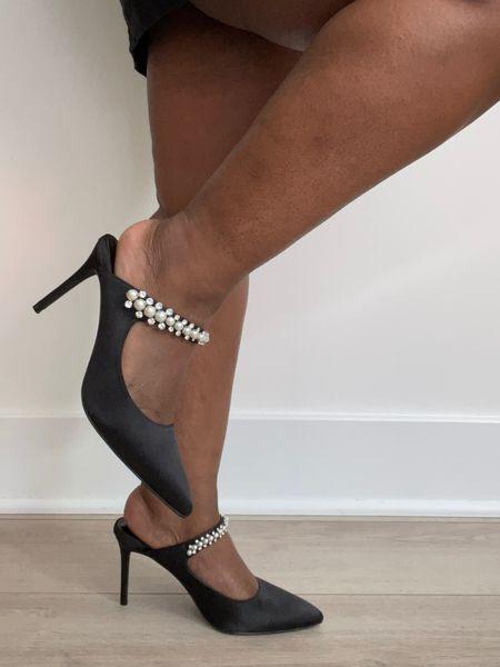 Pearl embellished heels, wedding guest dress, formal heels, black heels   #LTKunder50 #LTKshoecrush #LTKstyletip