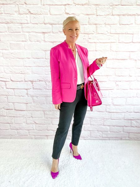 Hot Pink Blazer outfit for Breast Cancer Awareness Month!  Blazer Look / Work Blazer / Workwear / Work Wear / Office Look / Office Outfit / Business Casual / Office Casual / Work Outfit / Tory Burch / Kate Spade /  Coach Handbags / Handbag /petite / over 40 / over 50 / over 60 / Fall Outfit / Fall Fashion    #LTKworkwear #LTKitbag #LTKSeasonal