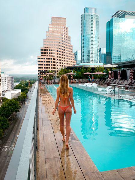 Austin pool day peach swim suit and white slide sandals   #LTKswim #LTKtravel #LTKunder50